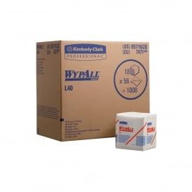 7471 Wypall L40 white 1 ply quarter fold 18x56 sheets (pk 18) ( 7456 replacement )